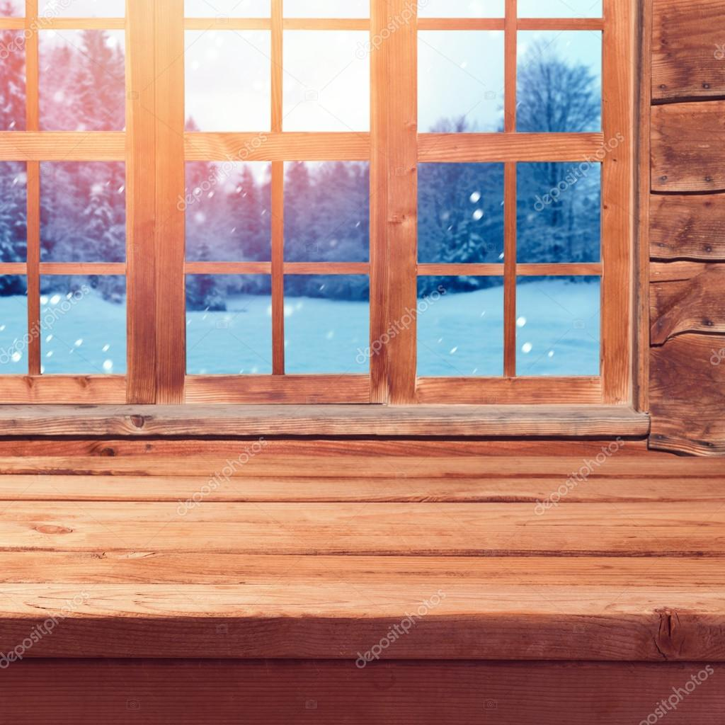 Christmas background with wooden table