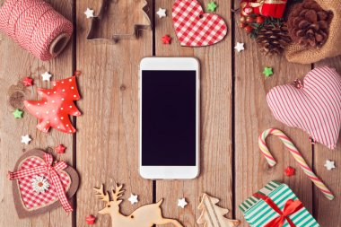 Smart phone mock up with Christmas decorations