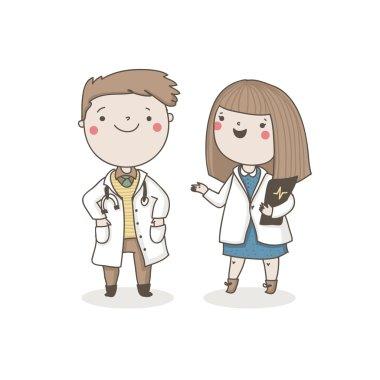 Cute doctors. Vector characters clip art vector