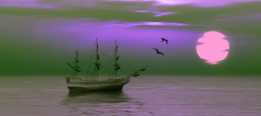 Sailboat against sunset landscape