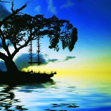 """Картина, постер, плакат, фотообои """"красивый пейзаж с птицами постеры печать архитектура"""", артикул 76359679"""