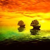barca a vela durante lalba