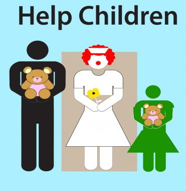 Help children vector, girl, nurse and man