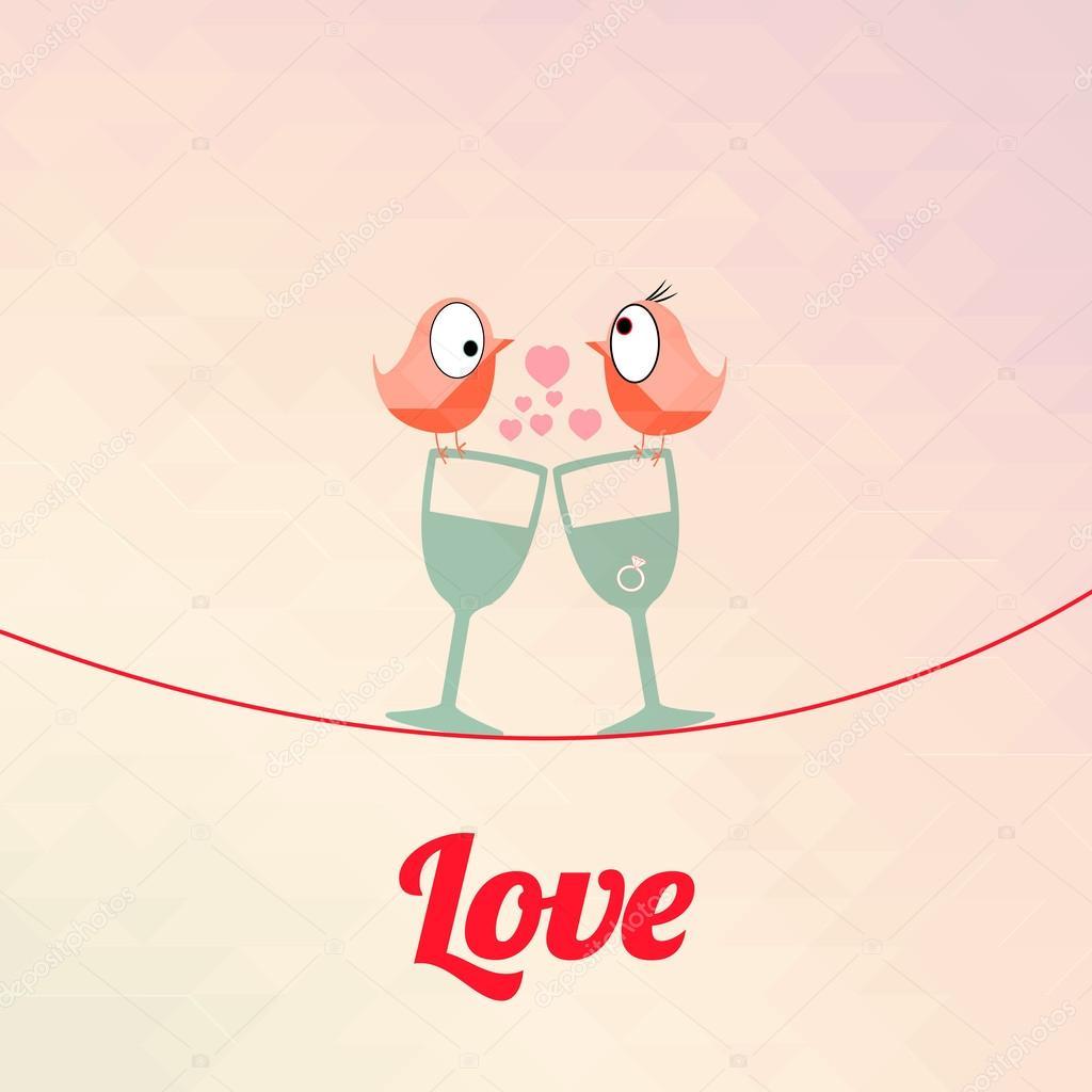 Love illustration over color background