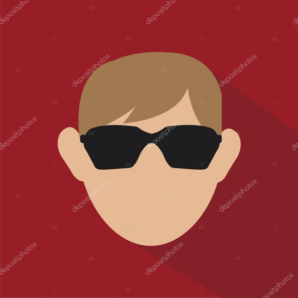 sun glasses and head over red color background