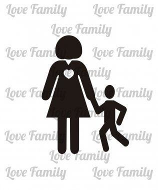 parents and children illustration, mother and son over white col