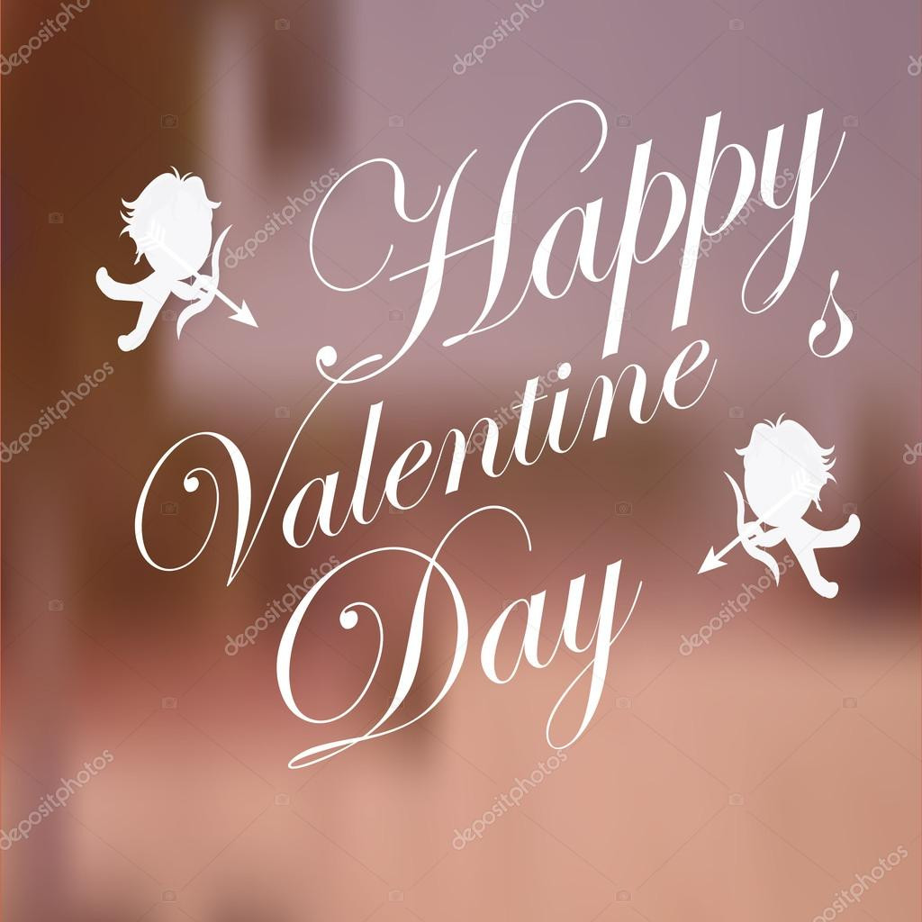 Valentines day, cupids and love text  over blur background