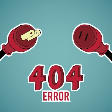 Error 404, red pin, over blue color background