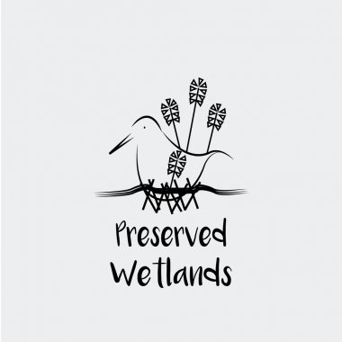 Preserved Wetlands vector over white color background