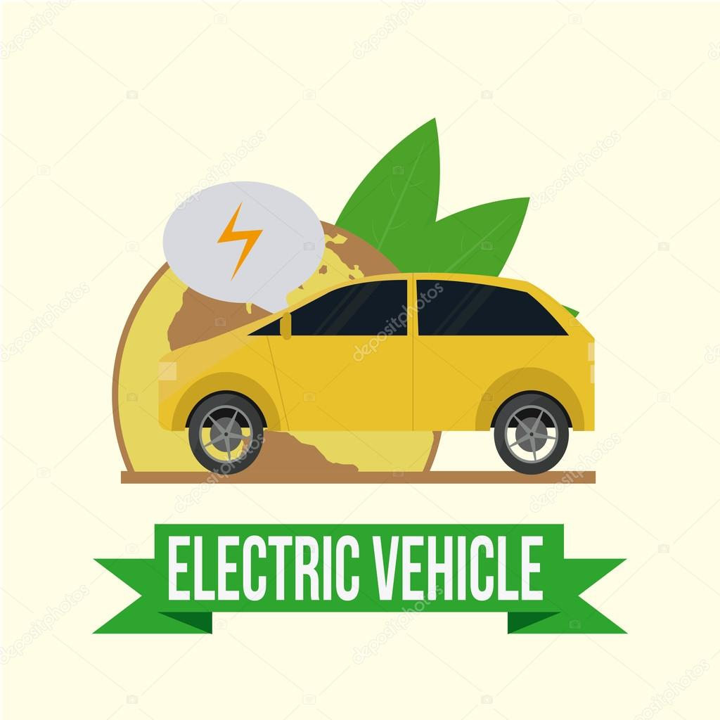 Elektro-Fahrzeug-Symbole auf farbigem Hintergrund — Stockvektor ...