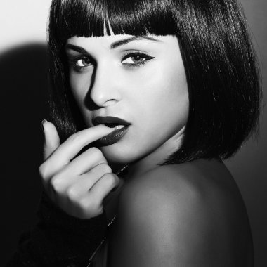 Beautiful Brunette Girl. Healthy Black Hair. bob Haircut.beauty sexy woman.flirt.black and white art