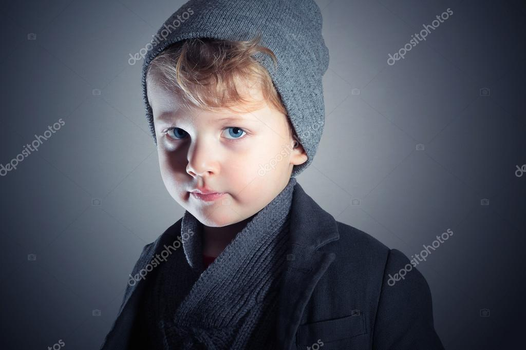 Winter Style Little Boy In Cap Stylish Handsome Child