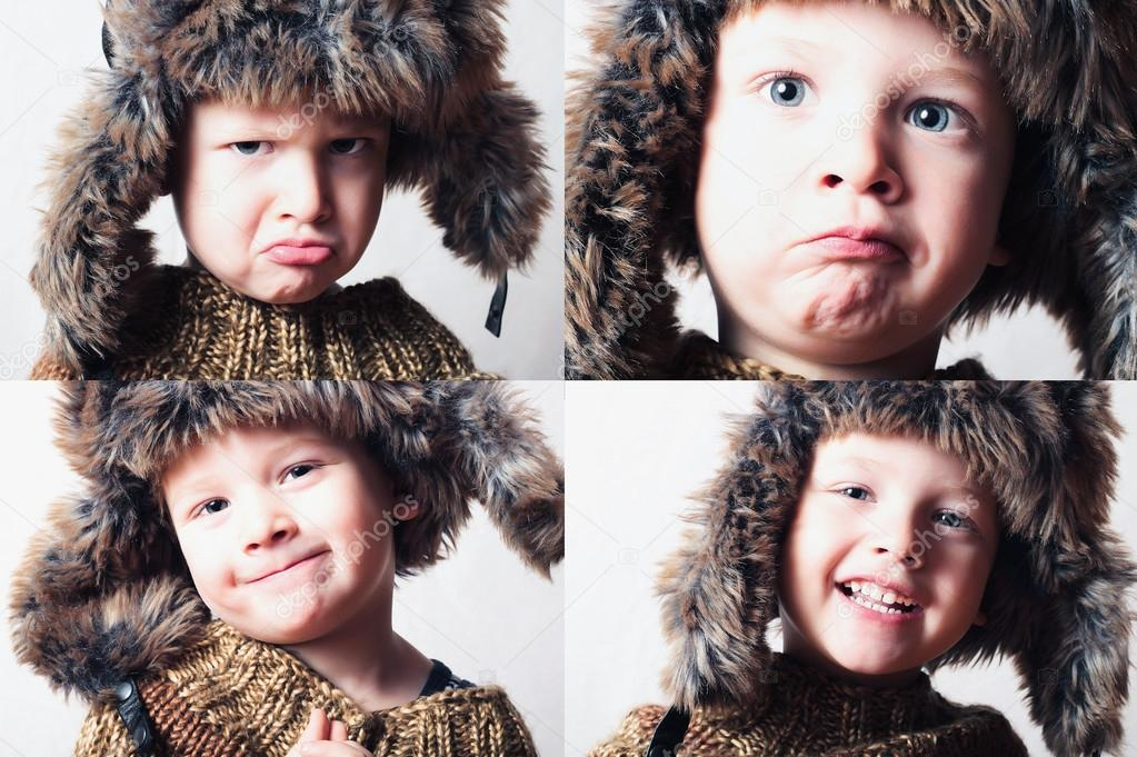 dde3e24cacec Smiling child in fur Hat.Kids winter style.fashion little funny boy ...