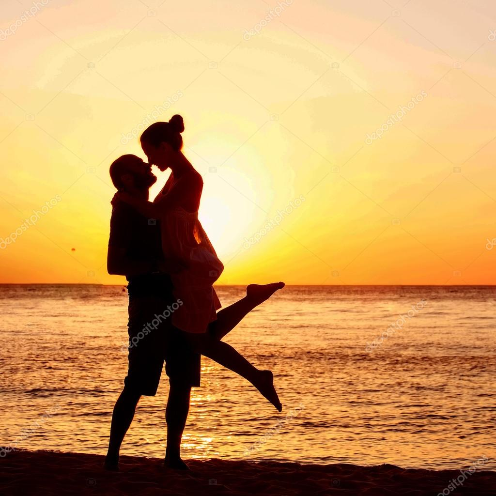 Couple At The Beach Stock Image Image Of Caucasian: Romantic Couple On The Beach At Colorful Sunset On
