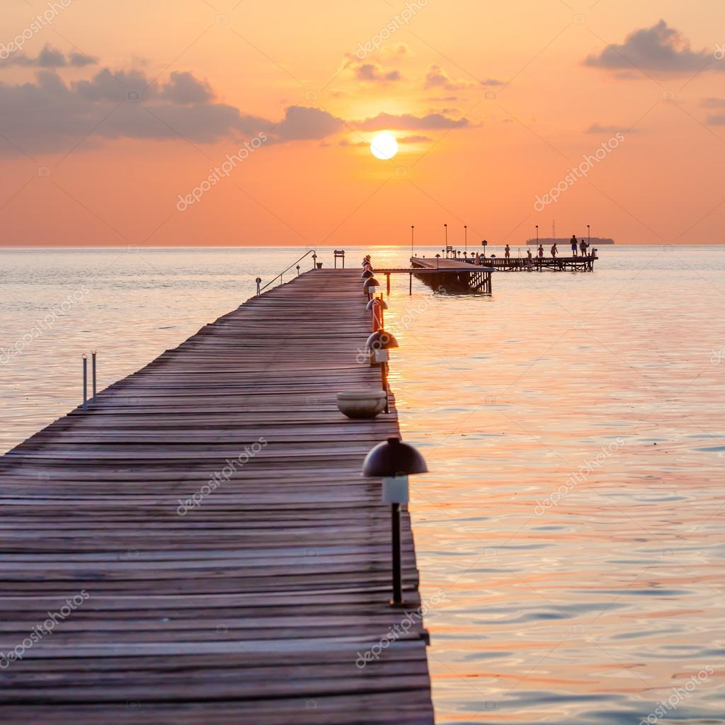 Wooden pier at the island in Indian ocean