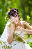 Krásná nevěsta v den svatby dědice