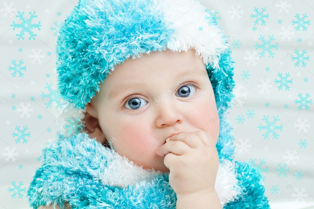 90fa9eaf8054 Cute baby at winter background — Stock Photo © MyGoodImages  92143160