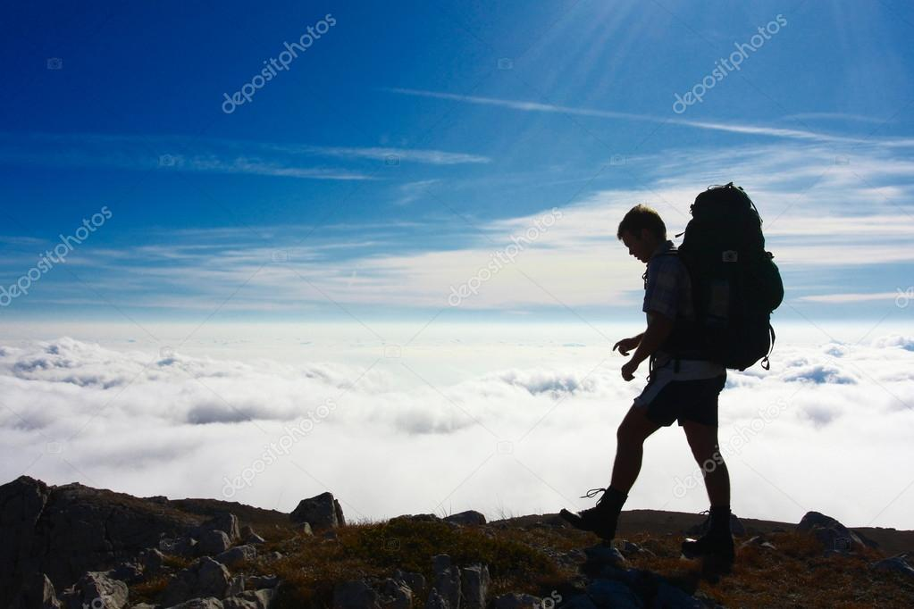 Backpackers silhouette, Hiking in the Crimea mountains