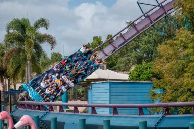 Orlando, Florida. November 15 2020 . People enjoying Mako Rollercoaster at Seaworld (16)