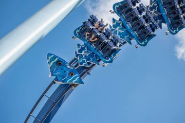 Orlando, Florida. November 15, 2020. People enjoying Manta Ray rollercoaster at Seaworld (6)