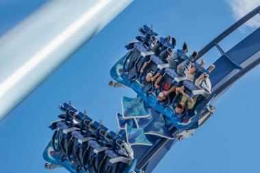 Orlando, Florida. November 15, 2020. People enjoying Manta Ray rollercoaster at Seaworld (7)