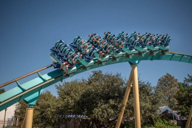Orlando, Florida. November 15, 2020. People having fun Kraken rollercoaster at Seaworld
