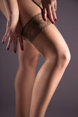 Sexy female hip in nylon stockings