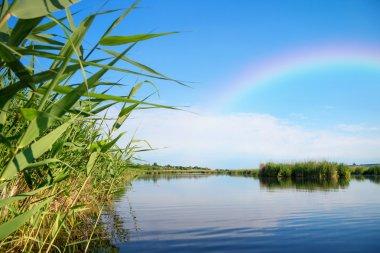 Rainbow on river landscape