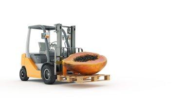 Modern forklift truck with papaya