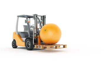 Modern forklift truck with orange
