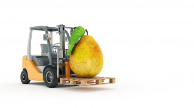 Modern forklift truck with pear