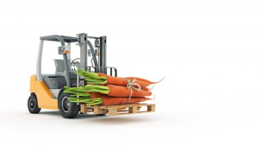 Modern forklift truck with carrots