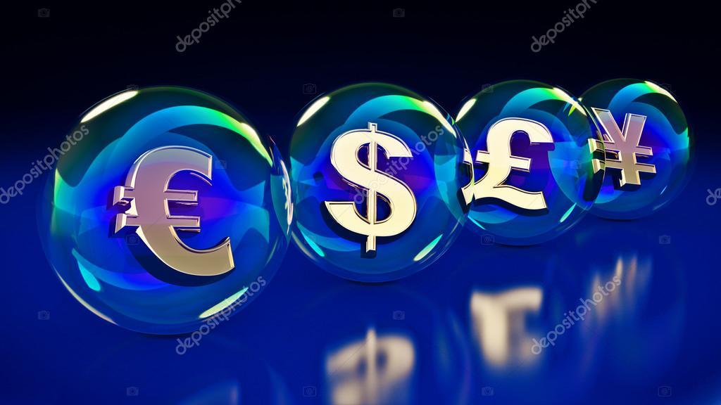 Dollar Euro Yen Yuan Pound Symbol In Bubble 3d Rendering Stock