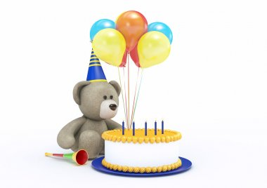 Toy Bear Celebrating its Birthday