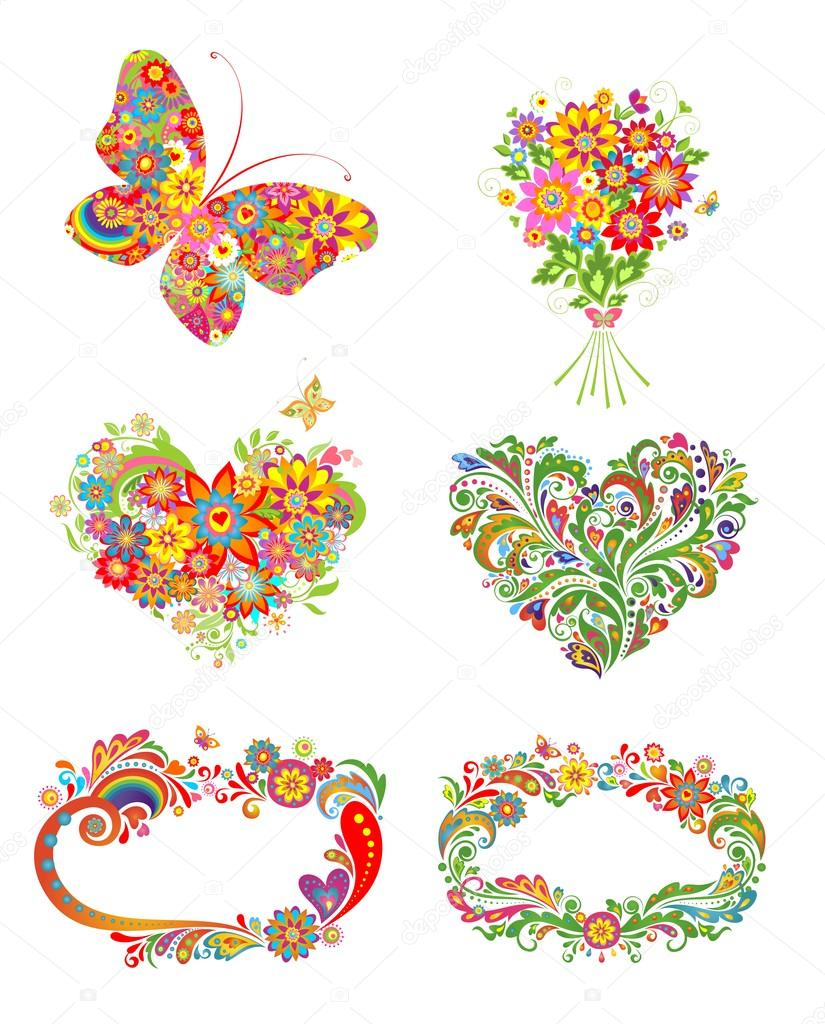 Greeting design with colorful flowers