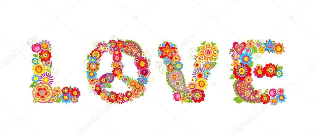 Hippie fleurs impression. Lettre d\u0027amour \u2014 Vecteur par antonovaolena