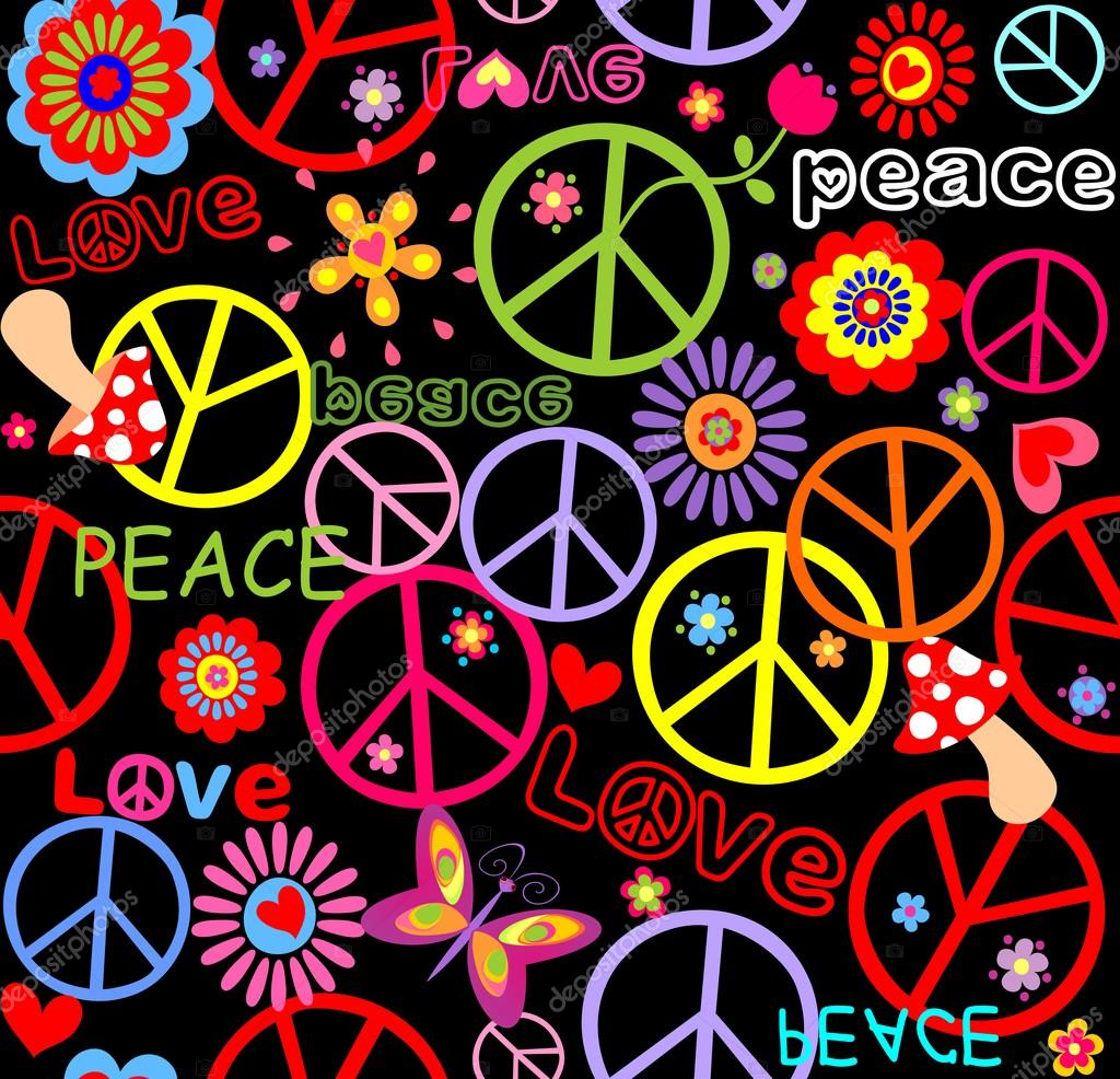 Hippie wallpaper with peace symbol, mushrooms and abstract flowers — Stock Vector