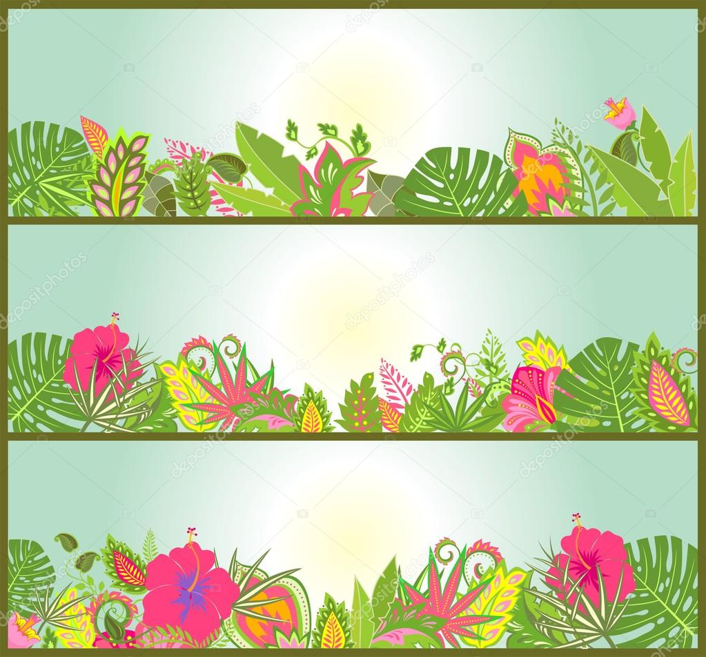 Horizontal banners with tropical flowers
