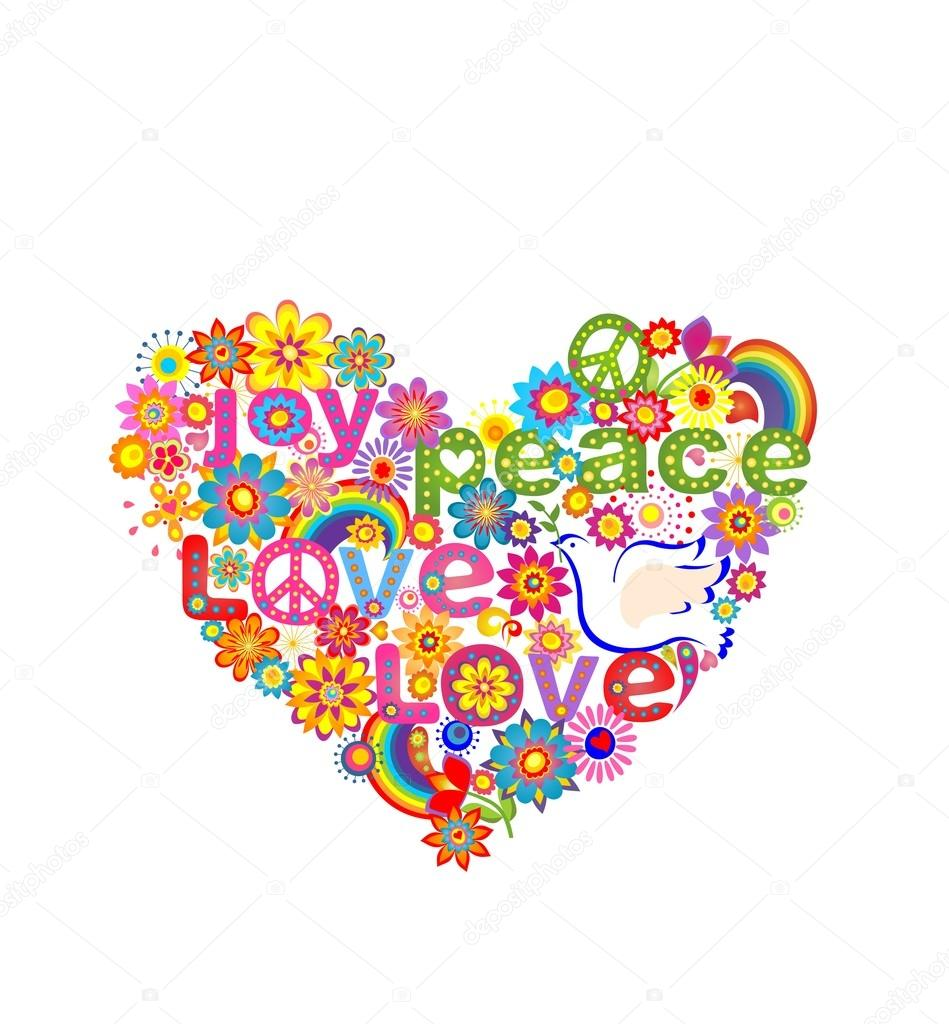 Hippie heart print with dove peace symbol and rainbow stock hippie heart print with dove peace symbol and rainbow stock vector biocorpaavc