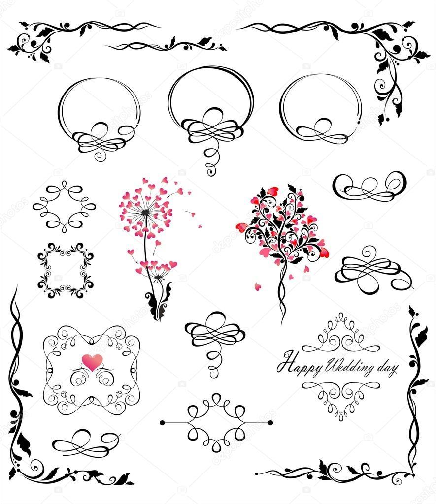 Colección de marcos de boda hermosa y cabeceras — Archivo Imágenes ...