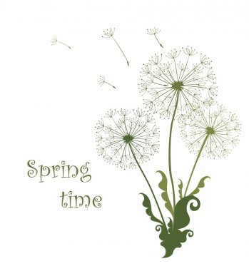 Spring card with dandelions