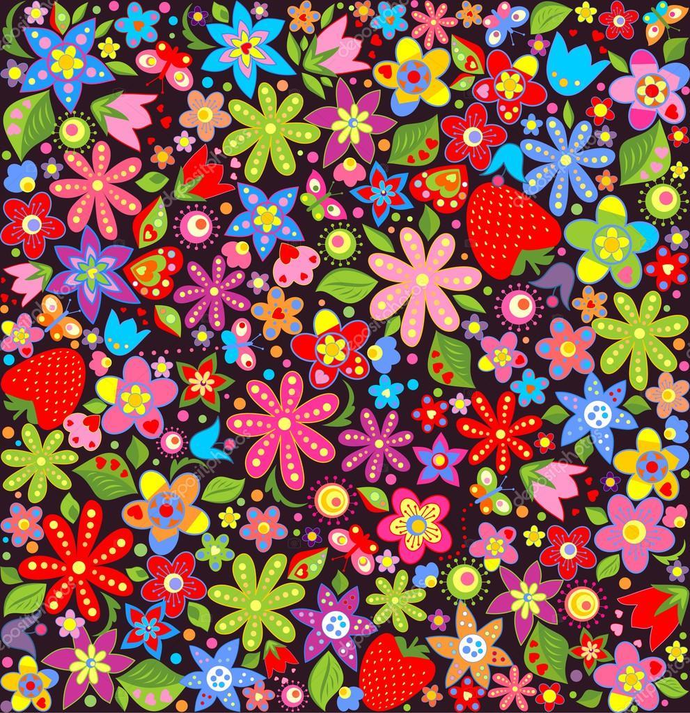 Fondo de pantalla de primavera con flores y fresas for Fondo de pantalla primavera