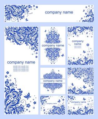 Set of blue vintage floral heading