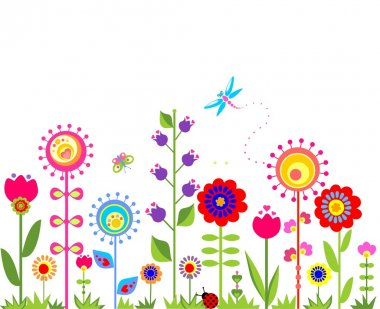 Seamless border with abstract  spring flowers stock vector