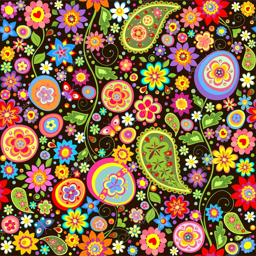 Envoltura con coloridas flores y huevos de Pascua — Vector de stock ...