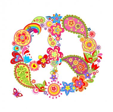 Colorful peace flower symbol with paisley