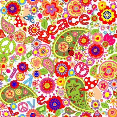 Hippie childish colorful wallpaper with mushrooms and poppies