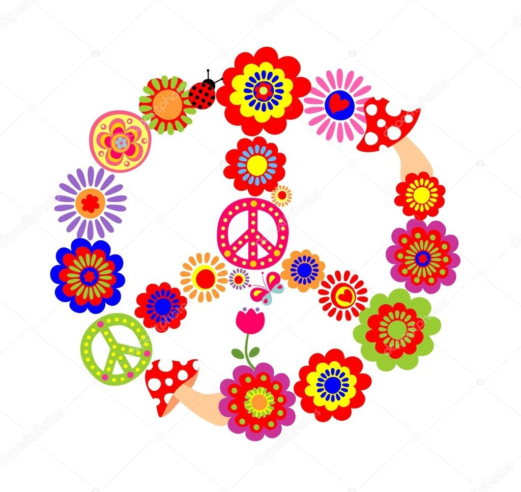 Peace Flower Symbol With Mushrooms Stock Vector Antonovaolena