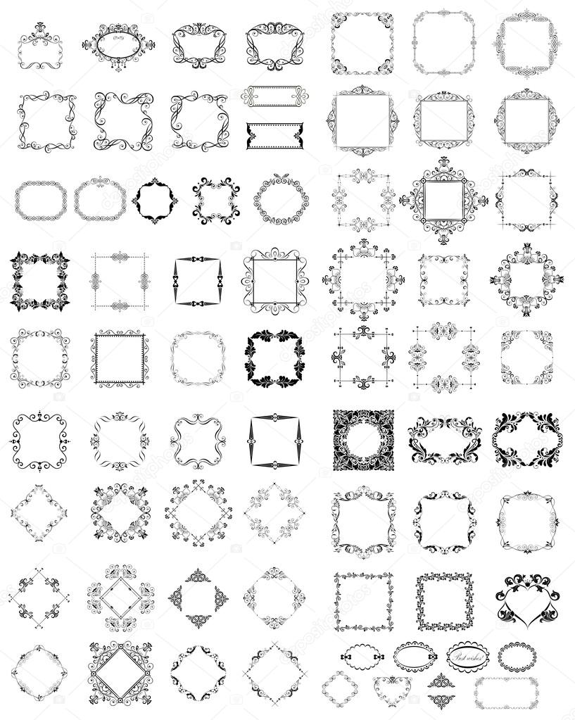 Satz von Jahrgang Rahmen und vignette — Stockvektor © antonovaolena ...