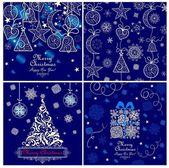 Sada modré Vánoční blahopřání